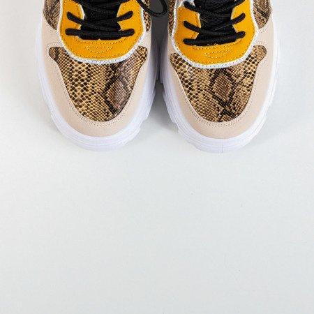 Бежевые женские кроссовки а'ла змеиной кожи Annadale - Обувь