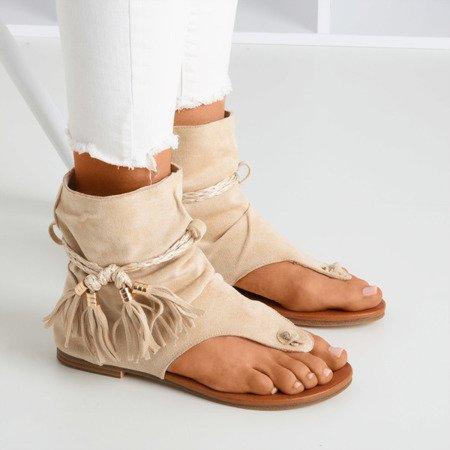 Бежевые шлепанцы с голенищем Semara - Обувь
