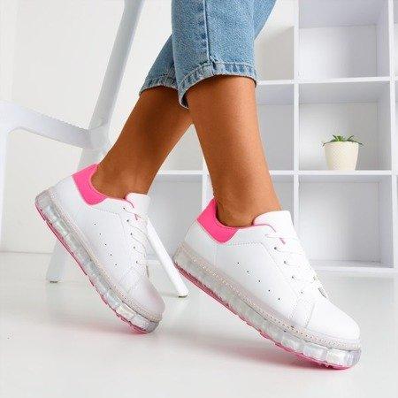 Бело-розовые кроссовки на платформе с цирконами Mauria - Обувь