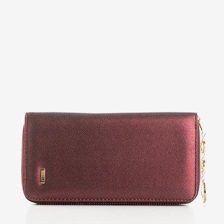 Большой глянцевый женский кошелек бордового цвета - Кошелек
