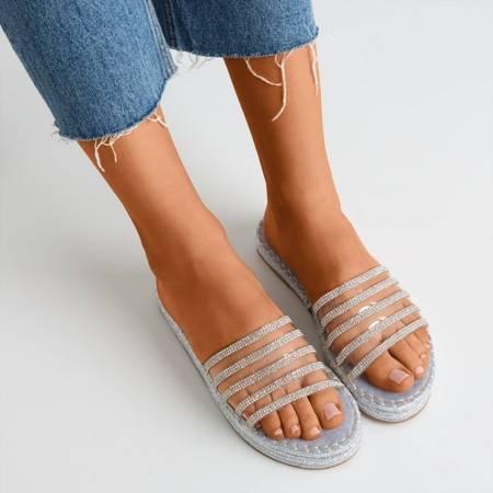 Голубые прозрачные тапочки с фианитом Noumeia - Обувь