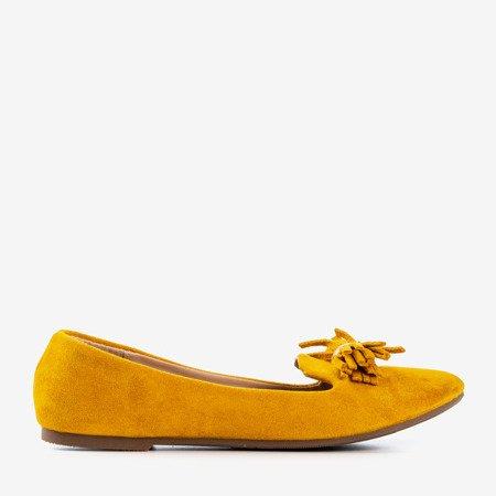 Горчичные балетки с кружевным декором - Обувь