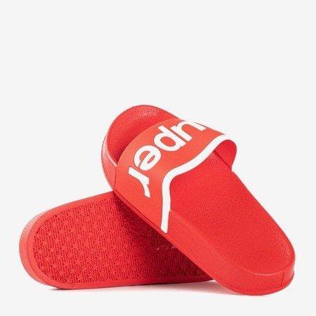Детские красные тапочки с надписью Super - Обувь