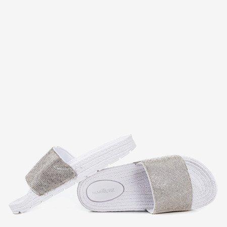 Женские белые тапочки с фианитом Blink Blink - Обувь