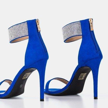 Женские кобальтовые сандалии на высоком каблуке с фианитами Klison - Обувь