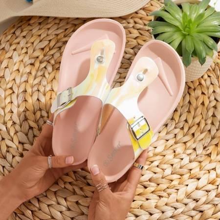 Женские светло-розовые голографические шлепанцы с манильской пряжкой - Обувь