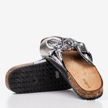 Женские серебряные тапочки с бантом Isydora - Обувь