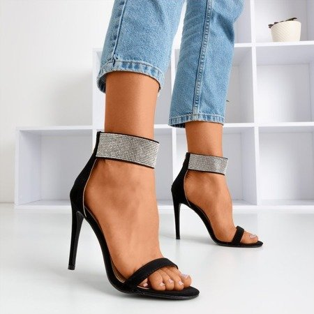 Женские черные сандалии на высоком каблуке с фианитом Klison - Обувь