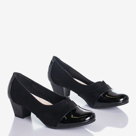 Женские черные туфли-лодочки на низкой стойке Saloma - Обувь