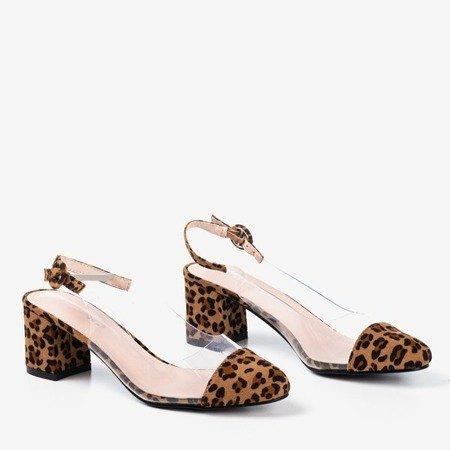 Коричневые туфли-лодочки на столбе а-ля пантера Evora - Туфли
