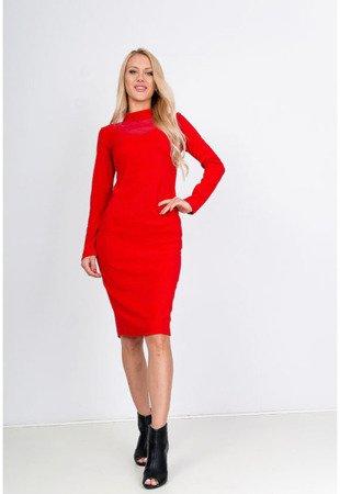 Красное платье миди с прозрачной вставкой - Одежда
