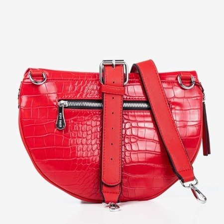 Маленькая сумка для почки красного цвета с тиснением животных - Сумки