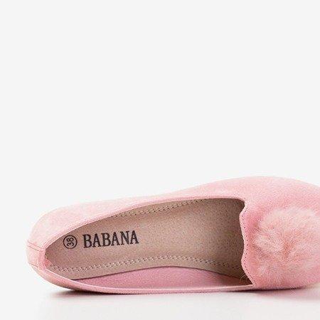 Розовые балетки с помпонами Культы - Обувь