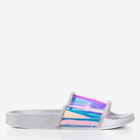 Серебряные тапочки с голографической полосой Blide - Обувь