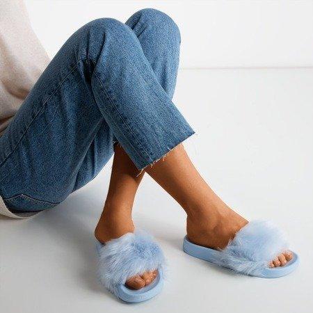 Синие тапочки с мехом Милли - Обувь