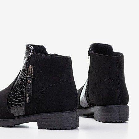 Черные женские ботильоны a'la Fixi из змеиной кожи - Обувь