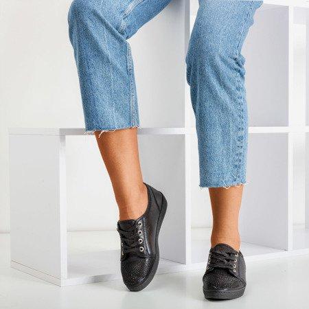 Черные женские кроссовки с фианитами Sofitessa - Обувь