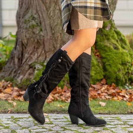 Черные женские сапоги на высоком каблуке с бахромой от Camisieqa - Обувь