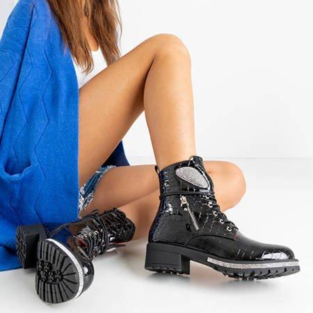 Черные лакированные ботинки под кожу змеи Exione - Обувь