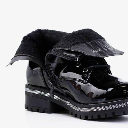 Черные лакированные женские сапоги с камнями Lancerot - Туфли
