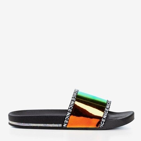 Черные тапочки с голографической желтой полосой Rinata - Обувь
