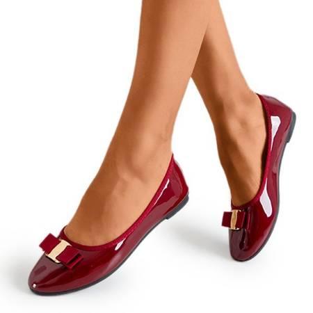 лакированные балетки бордового цвета с бантом Marco - Обувь