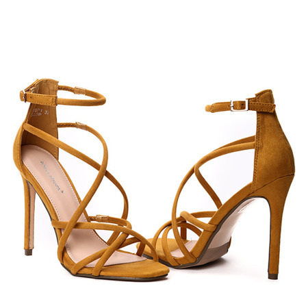 Ciemnożółte sandały na szpilce Teresena - Obuwie