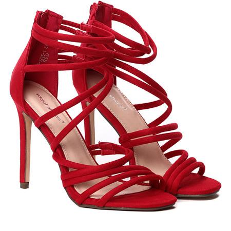 Czerwone sandały na szpilce Damien - Obuwie