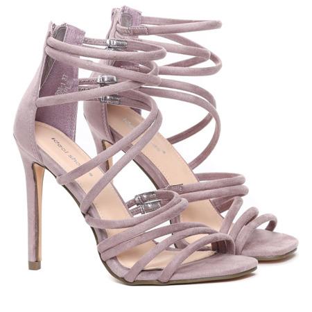 Fioletowe sandały na szpilce Damien - Obuwie