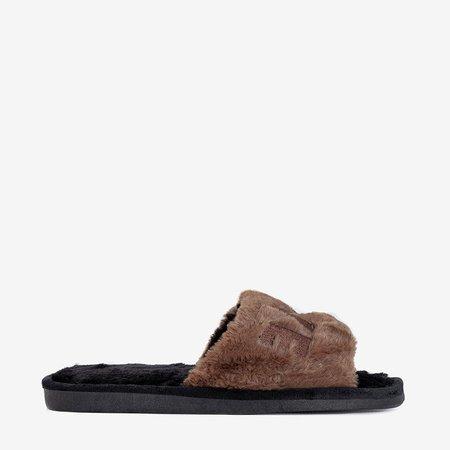 Коричневые женские тапочки с мехом Wortan - Обувь