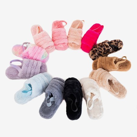 Разноцветные женские меховые тапочки Fornax - Обувь