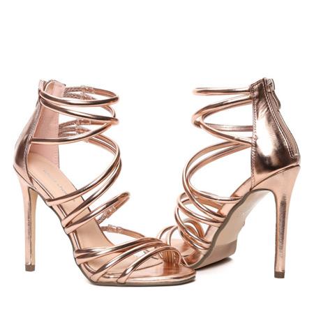 Różowo złote sandały na szpilce Blynna - Obuwie