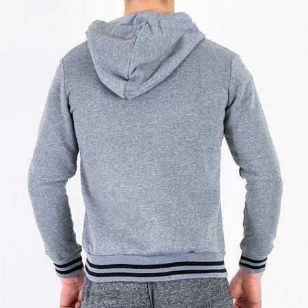 Теплый серый мужской свитшот в полоску - Одежда