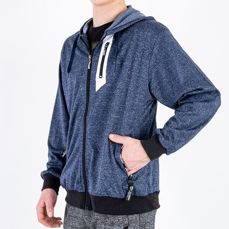 Толстовка мужская темно-синяя с орнаментом - Одежда