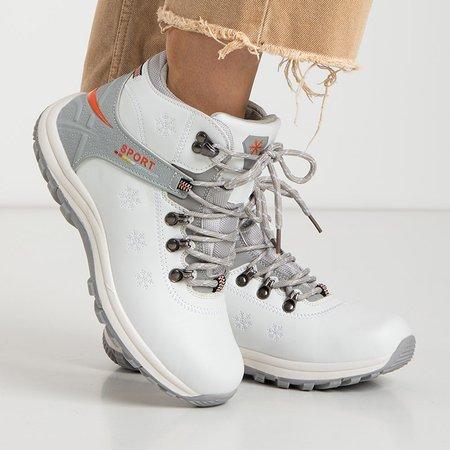 Зимние женские белые утепленные сапоги с украшениями Aliza - Обувь