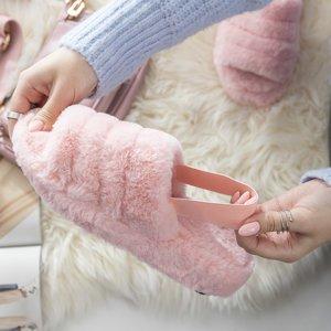 Бледно-розовые женские меховые тапочки Fornax - Обувь