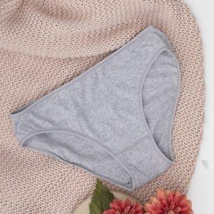 Серые женские трусики из хлопка PLUS SIZE - Нижнее белье