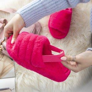 Женские меховые тапочки цвета фуксии Fornax - Обувь