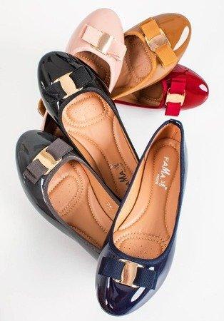 Балерини з натуральної шкіри коричневого кольору з бантом Marco - Взуття