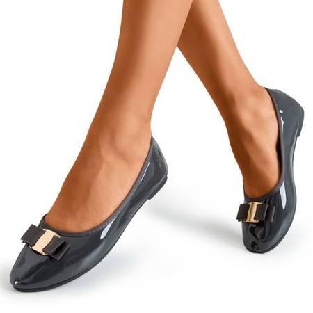 Балерини темно-сірі з лаком з бантом Марко - Взуття