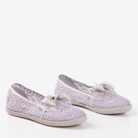 Балетки з сірого мережива Normitta для дітей - Взуття