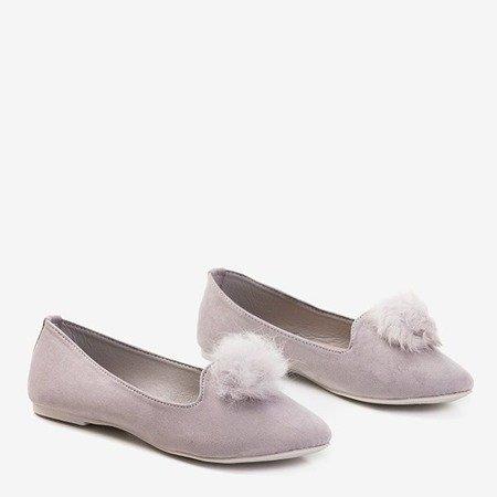 Балетки світло-сірого кольору з помпоном Культи - Взуття