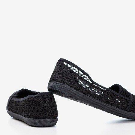 Балетки чорного кольору з мереживним орнаментом Pamyel - Взуття 1
