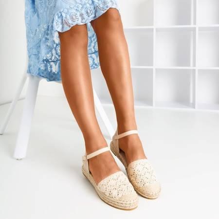 Бежеві еспадрилі з ажурною верхньою Азією - Взуття 1