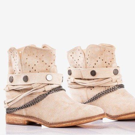 Бежеві ковбойські черевики на танкетці Салемі - Взуття