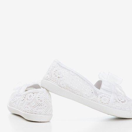 Білий ажурний сліп для дівчаток з бантиком Farima - Взуття