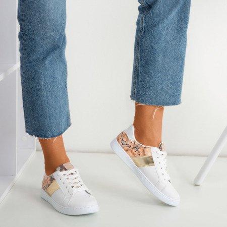 Біло-золоті жіночі кросівки ала зміїна шкіра Класті - Взуття