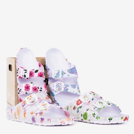 Білі гумові шльопанці з зеленими квітами Lito - Взуття 1