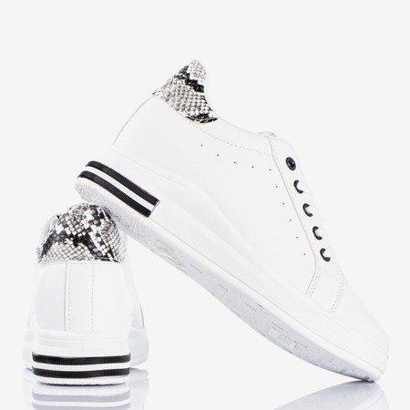 Білі кросівки на танкетці зі зміїними шкіряними вставками Сліомена - Взуття