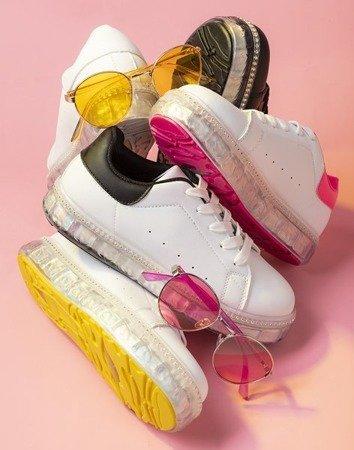 Білі та рожеві кросівки на платформі з цирконами Mauria - Взуття